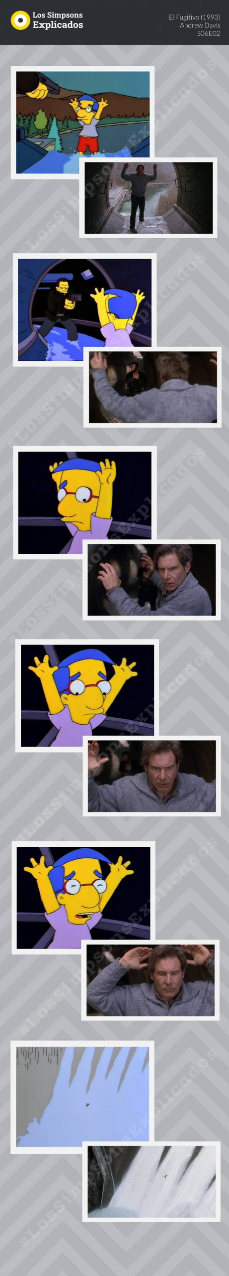 Homenaje a El Fugitivo en Los Simpsons Milhouse cascada
