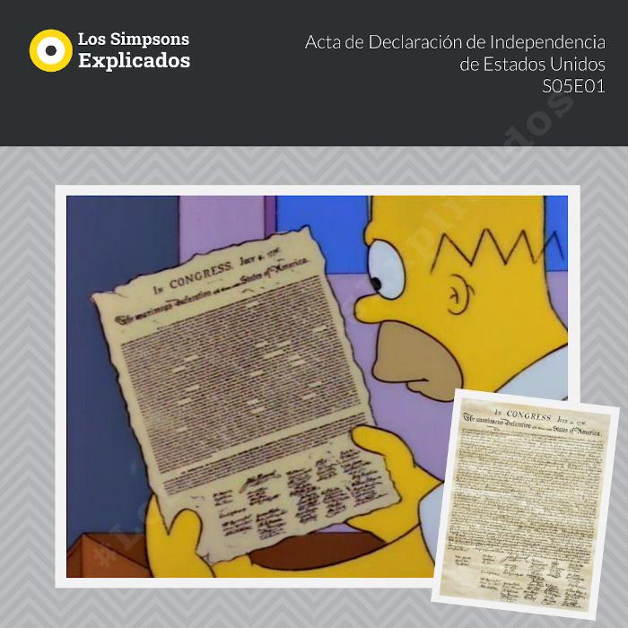 acta declaración de independencia de estados unidos homero los simpsons explicados
